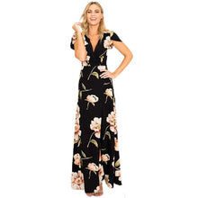 Load image into Gallery viewer, 2018 New Floral Print V Neck Split Maxi Dress