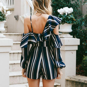 2018 New Stripe High Waist Irregular Jumpsuit Rompers