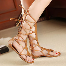 Load image into Gallery viewer, Gladiator Cross Strap Thong Roman Leather Strap Flat Sandals
