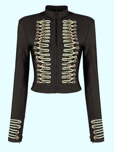 Women's Bandage Button Black Zipper Long Sleeve Jacket Fashion Celebrity Women's Overcoat
