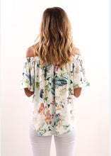 Load image into Gallery viewer, European and American Fashion Printing One Word Shoulder Dress Woman T-shirt