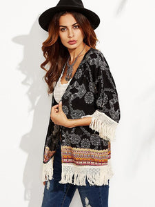 Popular Black Half Sleeve with Tassels Shawl Cover-up Tops