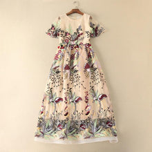 Load image into Gallery viewer, Elegant Embroidered Round Neck Short Sleeve Maxi Dress