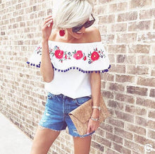 Load image into Gallery viewer, Pompom Off The Shoulder Ruffles Short Sleeve Loose Blouse Tops