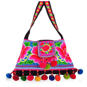 National Style embroidery Pompom coin fashion women cross shoulder bag