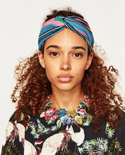 Load image into Gallery viewer, Boho Striped Flower Print Headband Headwear