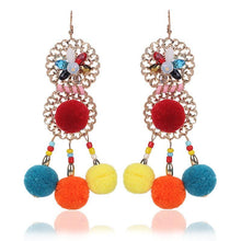 Load image into Gallery viewer, Colorful Ethnic Bohemia Flower Pom Beads Earrings