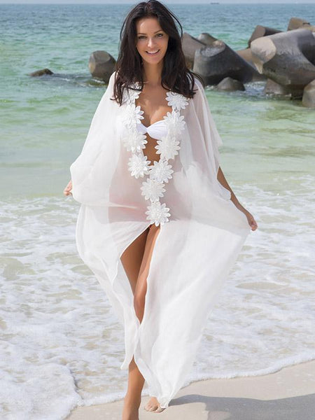 White Flower Chiffon Cover-Ups Swimwear