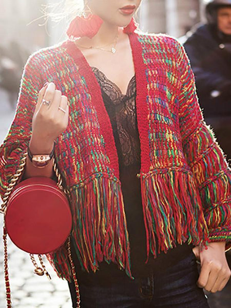 Cardigan Feminino Real Wool Women Sweaters And Poncho  New Women's Loose Cardigan Knit Hand-knitted Rainbow Tassels Woman