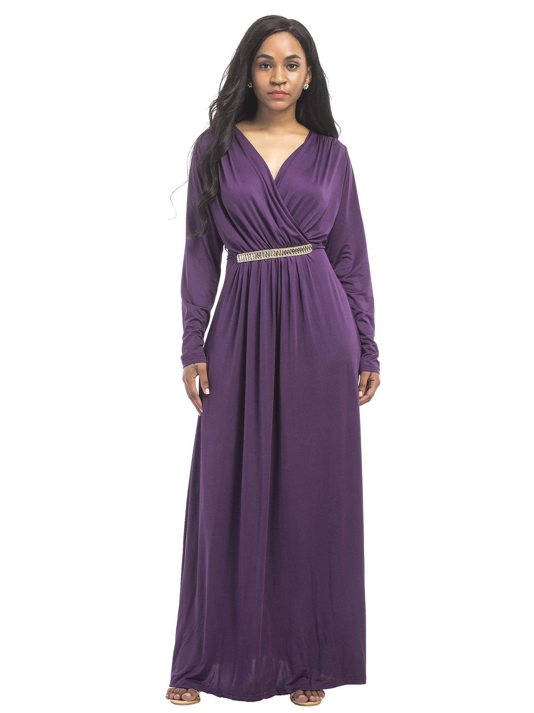 Solid Color V-neck Maxi Dress