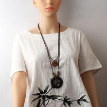 Load image into Gallery viewer, Hollow Fish Alloy Pendant Long Wax Rope Necklace Sweater Chain