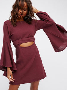 Flare Sleeves Backless Romper Mini Dress