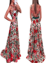 Load image into Gallery viewer, Elegant Floral Print Embroidered Sleeveless Backless Maxi Long Dress