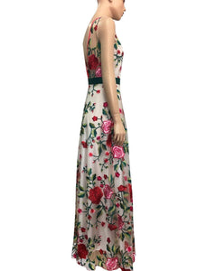 Elegant Floral Print Embroidered Sleeveless Backless Maxi Long Dress
