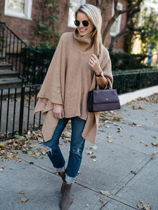 High-neck Solid Color Knitting Sweater Cover-Ups Tops