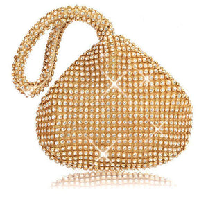 Diamond-Encrusted Dinner Bag Heart-Shaped Clutch