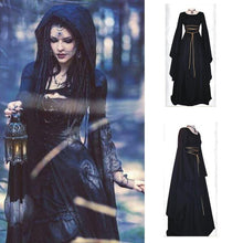 Load image into Gallery viewer, Halloween Solid Color Round Neck Long Sleeve Maxi Dress