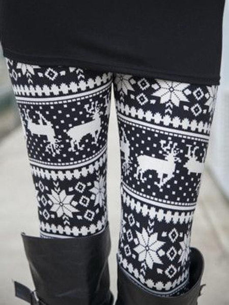 Christmas Black-White Elk Tribal Pattern Leggings