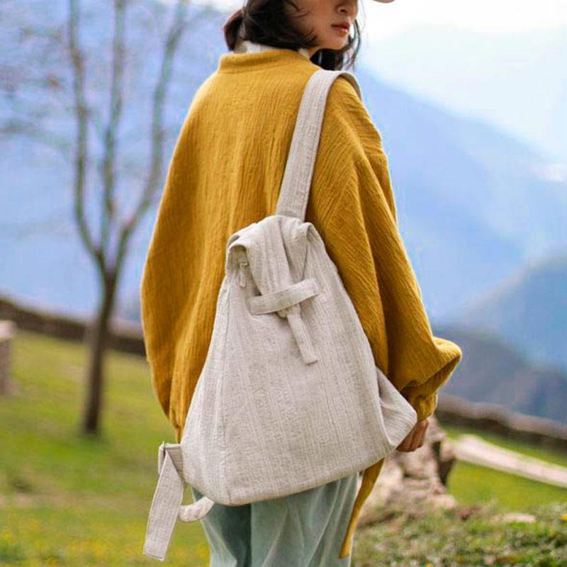 Casual Women Triangle Beige Backpack