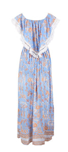 2018 Flower Print Off Shoulder Boho Beach Maxi Dress