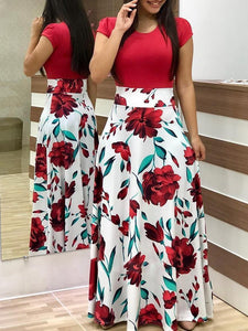 2018 Floral Short Sleeve High Waist Maxi Dress