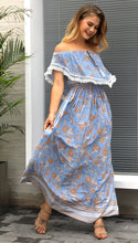 Load image into Gallery viewer, 2018 Flower Print Off Shoulder Boho Beach Maxi Dress