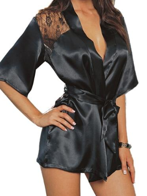Sexy Lingerie Silk Lace Black Kimono Intimate Sleepwear Robe Night Gown Black Purple Colors