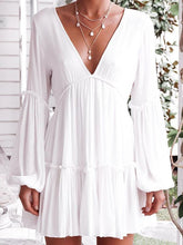 Load image into Gallery viewer, White Long Sleeve V Neck Beach Mini Dress