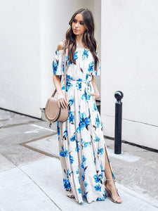 2018 New Floral Print Off Shoulder Short Sleeve Side Split Maxi Long Dress