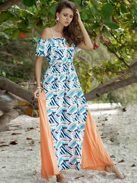 Off Shoulder Chiffon Split Long Style Women Beach Boho Dress Floral Print Maxi Robe Femme Fashion Ruffle Spaghetti Strap Dresses