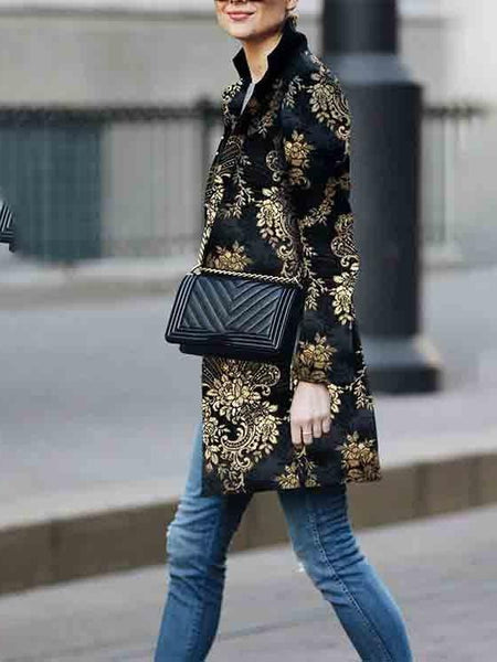 Women Retro Black Floral Print Cardigan Long Sleeves Vintage Jacket Slim Elegant Coat Outwear