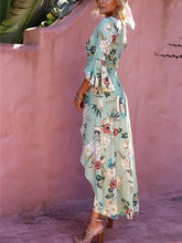 Load image into Gallery viewer, Bohemia Asymmetric V-neck Split-front Maxi Dress