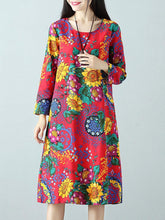 Load image into Gallery viewer, Casual Printed O-Neck Long Sleeve A-Line Women Dresses