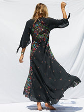 Load image into Gallery viewer, New PRINT DEEP V NECK BOHEMIA BEACH MAXI DRESS