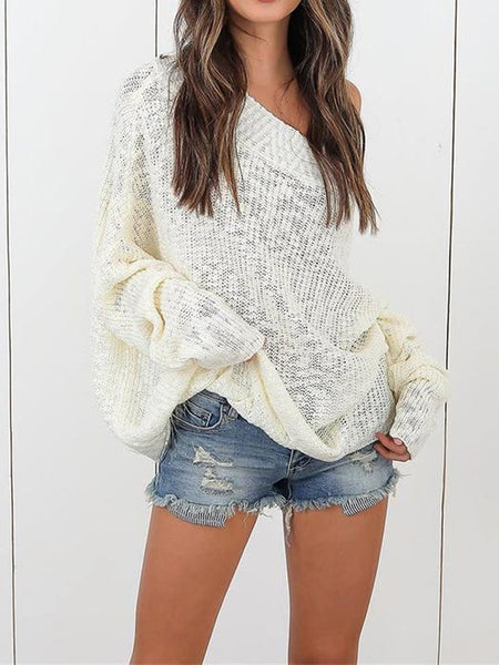 Off Shoulder Long Sleeve Plus Size Winter Sweater