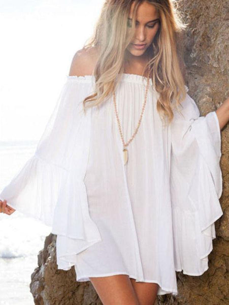 White Off Shoulder Loose Beach Mini Dress