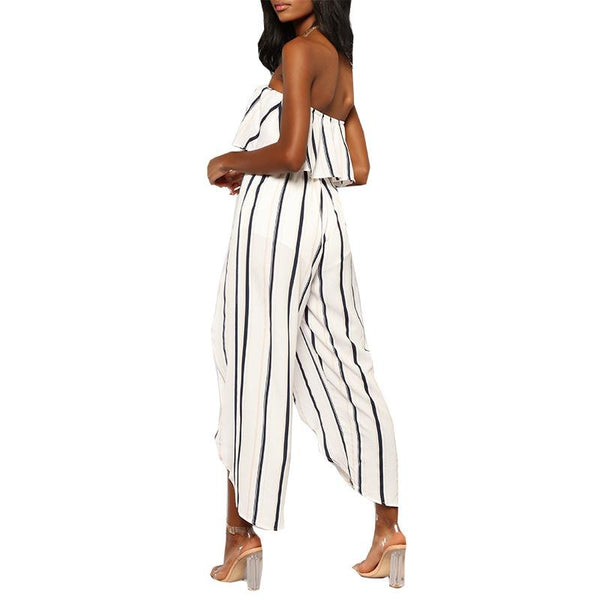 Stripe Off Shoulder High Waist Split Leg Jumpsuit Rompers