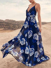 Load image into Gallery viewer, Fashion V Neck High Waist Spaghetti Strap Beach Maxi Dress