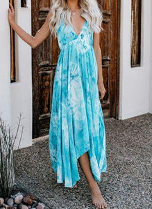 V-neck Sling Large Swing Long Dress