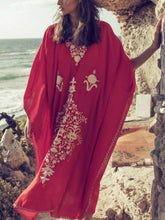 Load image into Gallery viewer, Boho Style Red Embroidered Robe Beach Dress