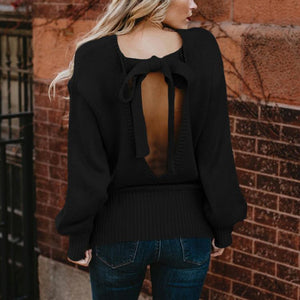 2018 Knit Long Sleeve Bowknot Tops Sweater