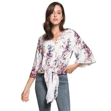 Load image into Gallery viewer, Digital Printed Floral Large Size Strap Fashion Chiffon Top