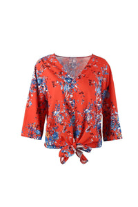 Digital Printed Floral Large Size Strap Fashion Chiffon Top