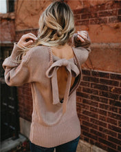 Load image into Gallery viewer, 2018 Knit Long Sleeve Bowknot Tops Sweater