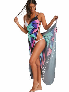 Butterfly Print Sexy Backless Beach One-piece Cover-up Dress