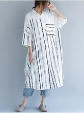 Load image into Gallery viewer, 2018 Stripe Linen Cotton Loose Shirt Dress