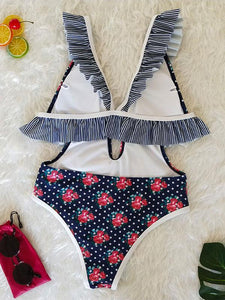 V-neck Bandage Sexy Floral One Piece Swimwear