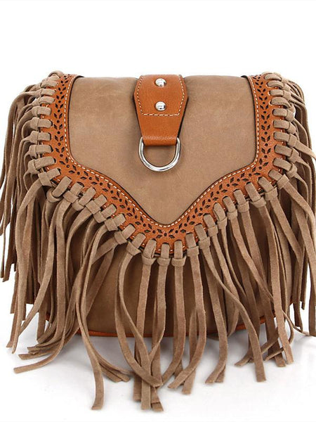Womens' Pouch Tassel Shoulder Bag Vintage Handbag Crossbody Bags for Women Large Capacity Messenger Bags