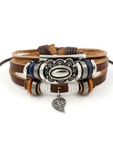 Load image into Gallery viewer, Beaded Leather Bracelet Adjustable Leather New Bracelet Jewelry