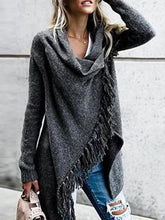 Load image into Gallery viewer, Knit Long Sleeve Tassel Irregular Sweater